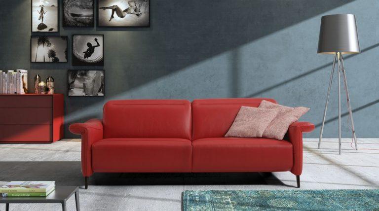 ספה מעור עם ריקליינר דגם Yvette